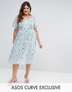Платье миди с декоративной отделкой ASOS CURVE SALON - Синий