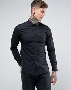 Приталенная эластичная рубашка из поплина Replay - Черный