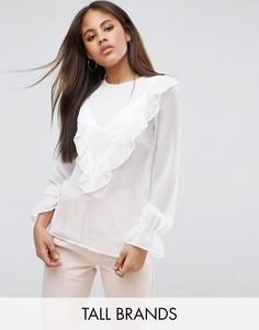 Блузка с длинными рукавами и оборками Y.A.S Tall - Белый