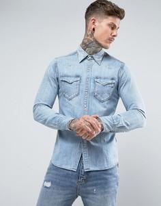 Светлая джинсовая рубашка в стиле вестерн Replay - Синий