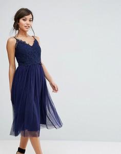 Платье миди с кружевным топом и юбкой из тюля Little Mistress - Темно-синий