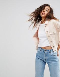 Розовая выбеленная джинсовая куртка с рваной отделкой ASOS - Синий