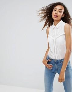 Рубашка без рукавов с кружевной отделкой и складками ASOS - Белый