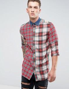Рубашка в клетку с длинными рукавами и джинсовым воротником Diesel S-Melvin - Красный