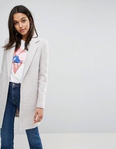 Фактурное пальто узкого кроя ASOS - Светло-серый