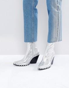 Серебристые ковбойские ботинки с заклепками Jeffrey Campbell - Серебряный