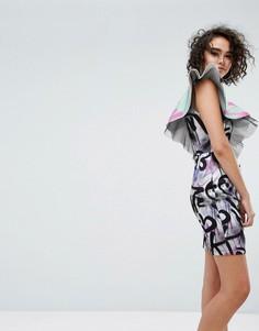 Платье мини с принтом и оборками ASOS X MTV - Мульти