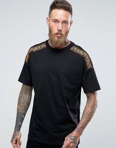 Oversize-футболка с вышивкой на плечах ASOS - Черный