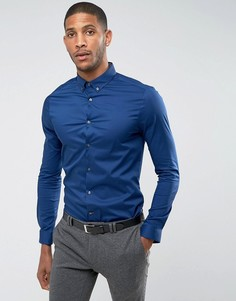 Эластичная рубашка с длинными рукавами Burton Menswear Athletic - Темно-синий