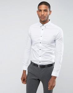 Эластичная рубашка с длинными рукавами Burton Menswear Athletic - Белый