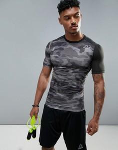 Компрессионная спортивная футболка с камуфляжным принтом Reebok BR9567 - Черный