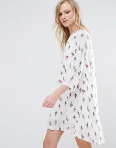 Платье-туника с принтом кактусов Liquorish - Белый
