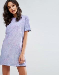 Свободное платье-футболка с принтом тай-дай Missguided - Фиолетовый