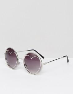 Солнцезащитные очки с дизайном сердец Missguided - Серебряный