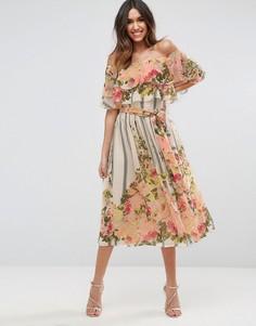 Платье миди в полоску с цветочным принтом и оборкой ASOS - Мульти