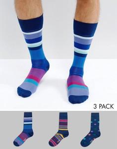 3 пары темно-синих носков в горошек и полоску Paul Smith - Темно-синий