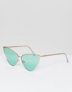 Металлические солнцезащитные очки кошачий глаз с зелеными затемненными стеклами AJ Morgan - Зеленый