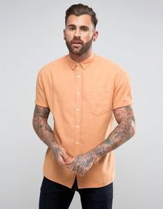 Оксфордская оранжевая oversize-рубашка с короткими рукавами ASOS - Оранжевый