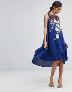 Платье миди с заниженной талией и вышивкой ASOS PREMIUM - Синий