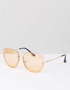 Солнцезащитные очки в половинчатой оправе со стеклами персикового цвета Jeepers Peepers - Оранжевый