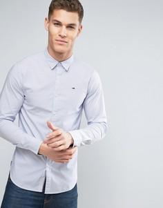 Эластичная узкая рубашка в полоску с логотипом Tommy Hilfiger Denim - Белый