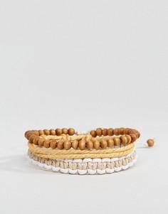 Набор браслетов с бусинами и тканых браслетов Icon Brand - Мульти
