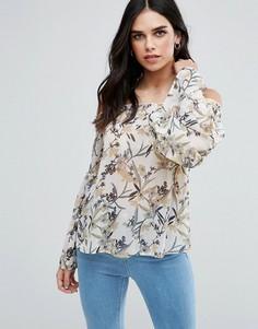 Топ с открытыми плечами и цветочным принтом в винтажном стиле AX Paris - Кремовый