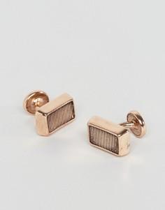 Золотисто-розовые прямоугольные запонки Icon Brand - Золотой