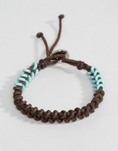 Коричнево-зеленый вощеный браслет-шнурок Icon Brand - Коричневый
