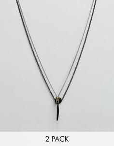 2 ожерелья с подвесками в виде перьев и дисков Icon Brand - Черный