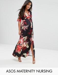 Платье макси с запахом и цветочным принтом ASOS Maternity NURSING - Черный