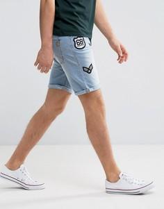 Джинсовые шорты с нашивками Blend - Синий