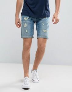 Синие джинсовые шорты с рваной отделкой Blend - Синий