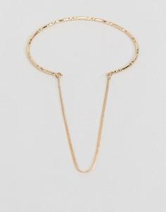 Гравированный браслет-манжет с цепочкой ASOS - Золотой