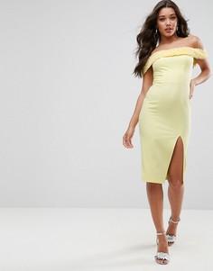 Фактурное платье миди со спущенными плечами ASOS - Желтый
