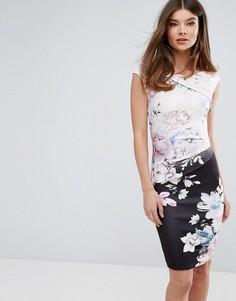 Платье-футляр с контрастным цветочным принтом Lipsy - Мульти