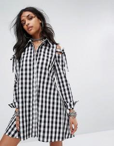 Платье-рубашка в клетку с вырезами на плечах Glamorous - Черный