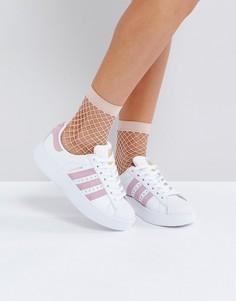Белые кроссовки с розовой отделкой adidas Superstar - Белый
