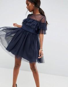 Платье мини из тюля с оборками ASOS - Темно-синий