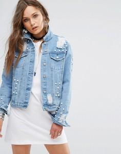 Джинсовая куртка с заклепками и рваной отделкой Glamorous - Синий