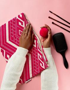 Большая косметичка с вышивкой и водонепроницаемой подкладкой Ashiana - Розовый