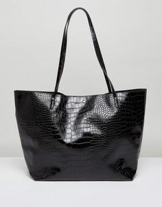 Сумка-шоппер с отделкой под кожу крокодила ASOS - Черный