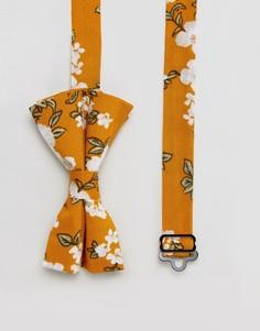 Галстук-бабочка с цветочным дизайном ASOS - Желтый