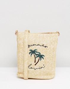 Соломенная сумка на плечо Skinnydip Summer Lovin - Бежевый