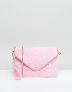 Клатч со съемным ремешком и эффектом крокодиловой кожи Yoki - Розовый