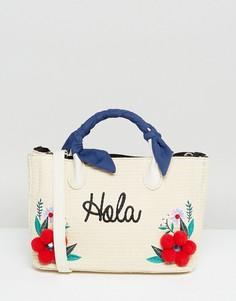 Соломенная сумка-тоут с цветами и помпонами Skinnydip - Бежевый