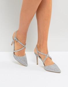 Туфли на каблуке с острым носком New Look - Серебряный