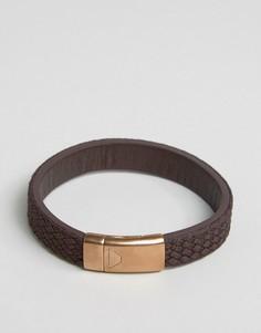 Коричневый фактурный кожаный браслет Emporio Armani - Коричневый