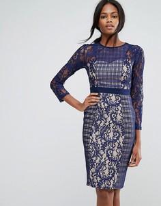 Платье-футляр с контрастным кружевом и рукавами 3/4 Little Mistress - Темно-синий