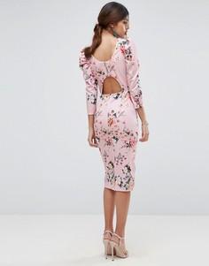 Платье миди с цветочным принтом, пышными рукавами и вырезом на спине ASOS - Мульти